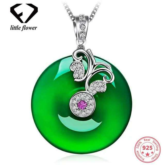 Green Chalcedony Emerald Pendant Necklace Bizuterias 925 Sterling Silver Clavicle peridot Jade Jewelry Turquoise Women Gemstones