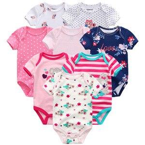Image 4 - Summer Baby Clothes 8Pcs Newborn GIrl Romper roupas de bebe Cotton Baby Boy Jumpsuits Short Sleeve Baby Onesies Clothing