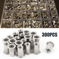 300 шт мульти Размеры Алюминий заклепочная гайка Nutsert комплект 150 шт Метрическая + 150 шт SAE застежки M3 M4 M5 M6 M8 M10