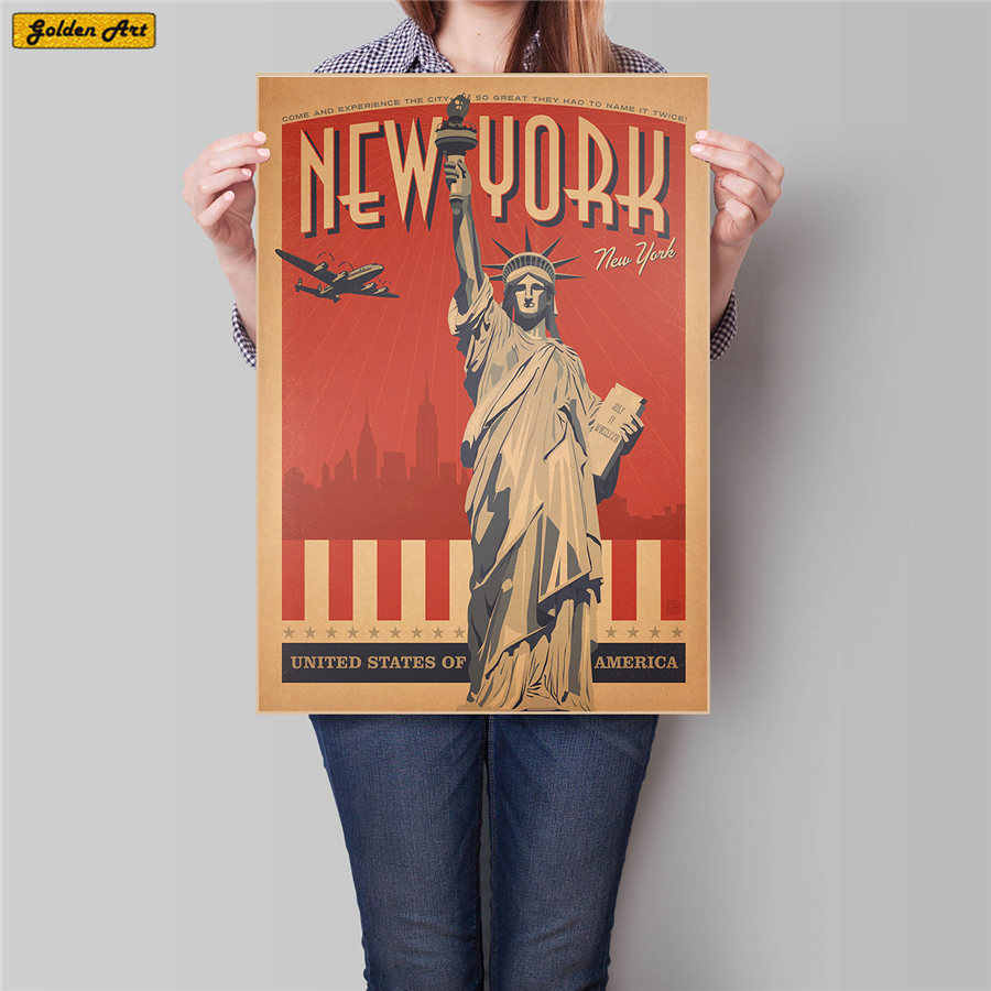 New York Travel City Statue of Liberty Vintage Painting Retro Kraft Paper bar cafe Posters Classic wall sticker 45.5x31.5cm