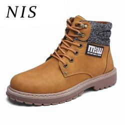 NIS Motorcycle Biker Winter Shoes Men Ankle Boots Men Timber Land Shoes High Top Sneakers Work Boots PU Leather Botas Hombre New