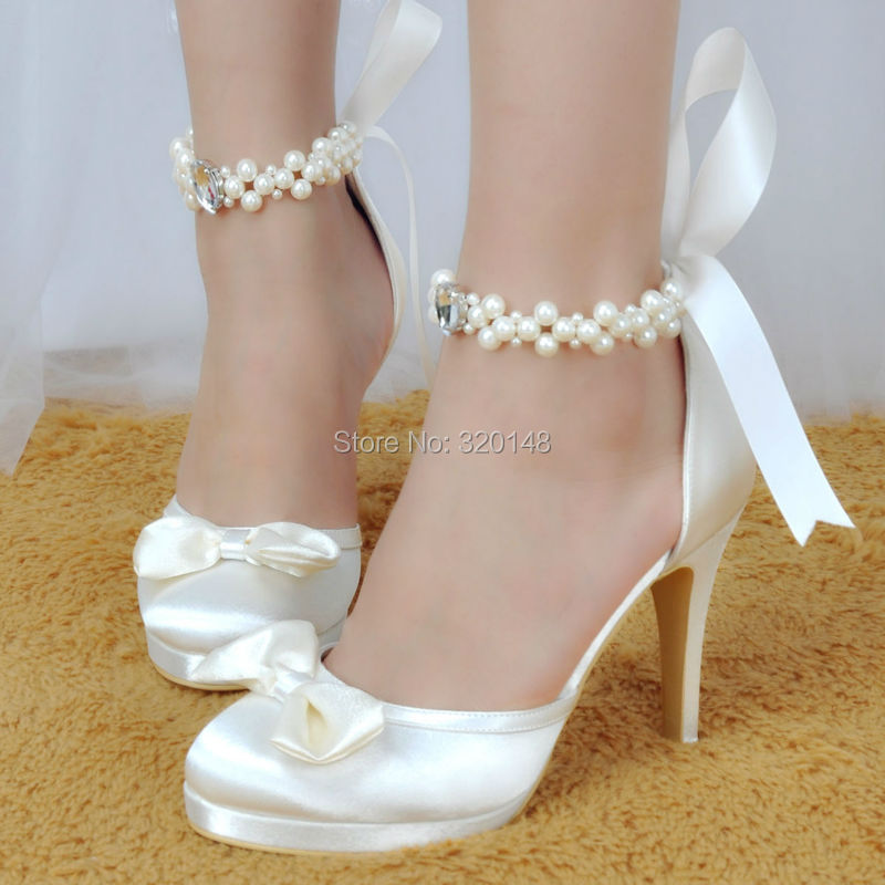 3c715d155fad Woman Shoes Wedding Bridal White Ivory High Heel Platform Round Toe Pearls  Ankle Strap Bow Satin Lady Prom Evening Pumps EP11074-in Women s Pumps from  Shoes ...