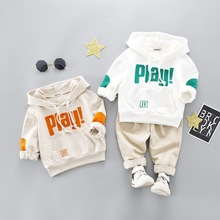 2019 Spring New Cotton Clothes Baby Girls Boys Sports Kids Hooded T Shirt Pants 2pcs/Sets Children Kids Casual Suits Tracksuits sports smiling face pattern hooded t shirt crop pants twinset for girls