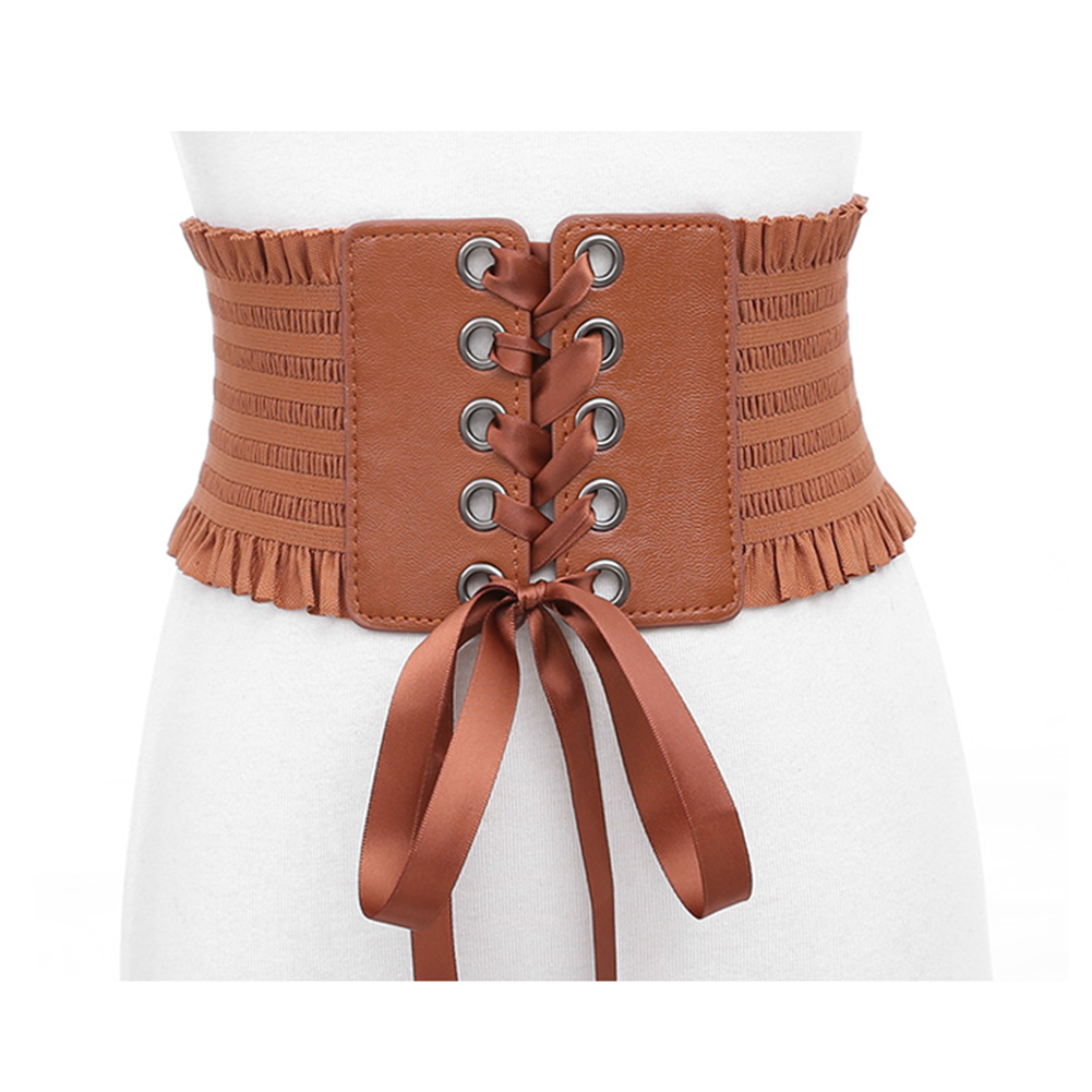 Fashion Cummerbunds Stretch Belt Lace Up Tassels Elastic Buckle Wide Dress Corset Waistband PU Bandage Shirts Belts Black Brown