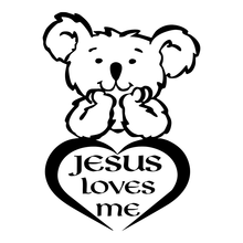 Jesus Loves Me Teddy God Religious Car Truck Window Laptop Vinyl Decal Sticker