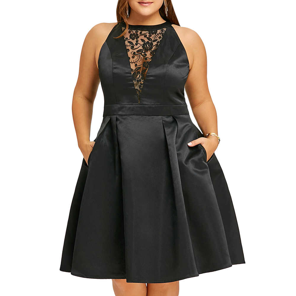 Wipalo/платье больших размеров, женские черные сексуальные вечерние платья, халаты, кружевные вставки, без рукавов, платья для свинга, vestidos mujer, большие размеры, XL-5XL