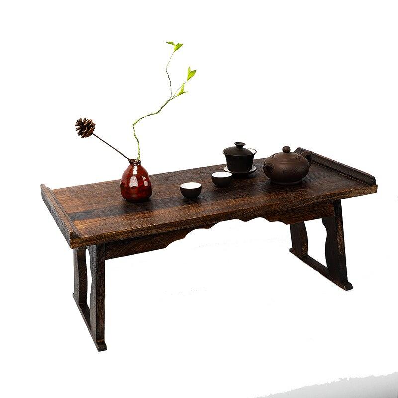 Table à thé en bois antique table d'ordinateur pliable tatami meubles asiatiques traditionnels salon Table basse de plancher de dîner HW07