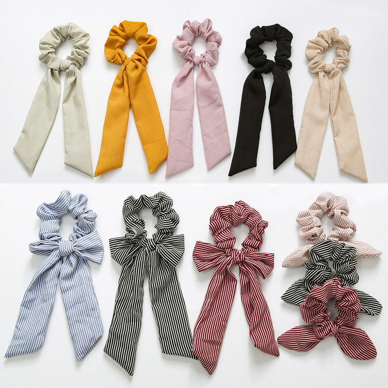 Newly Vintage Women Stripe Hair Scarf Bowknot Streamers Scrunchies Ponytail Holder Girls Summer Headbands Elastic Hair Band