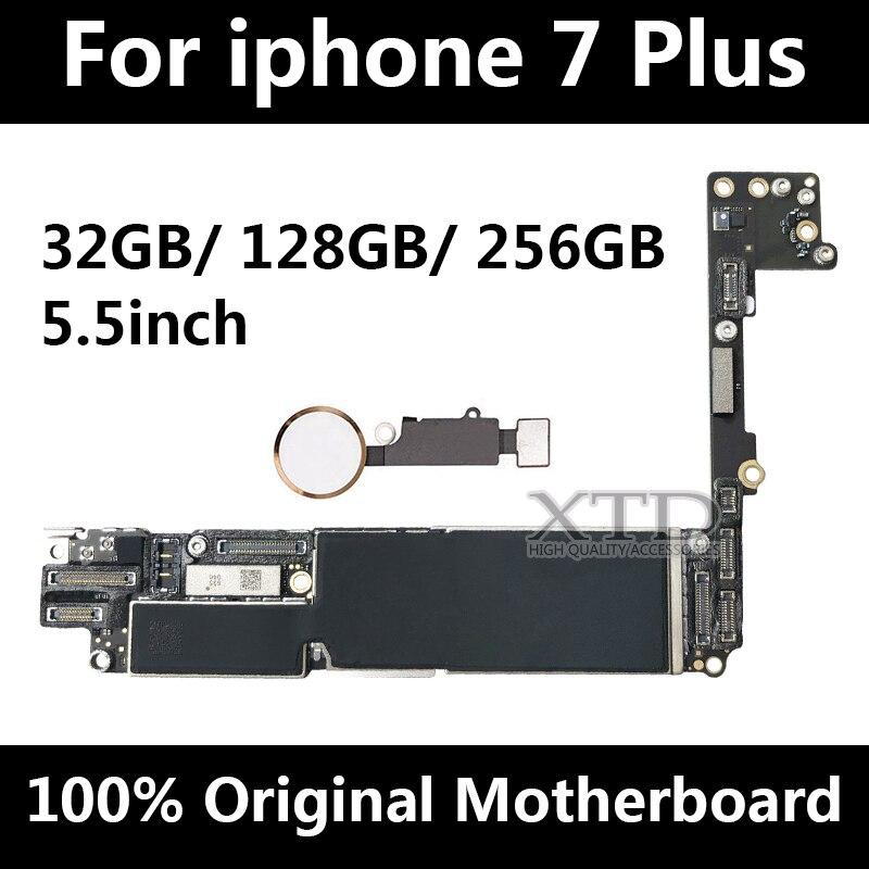 100% débloqué Original pour iphone 7 plus Carte Mère avec Tactile ID, pour iphone 7 plus conseil avec Puces, 32 gb/128 gb/256 gb