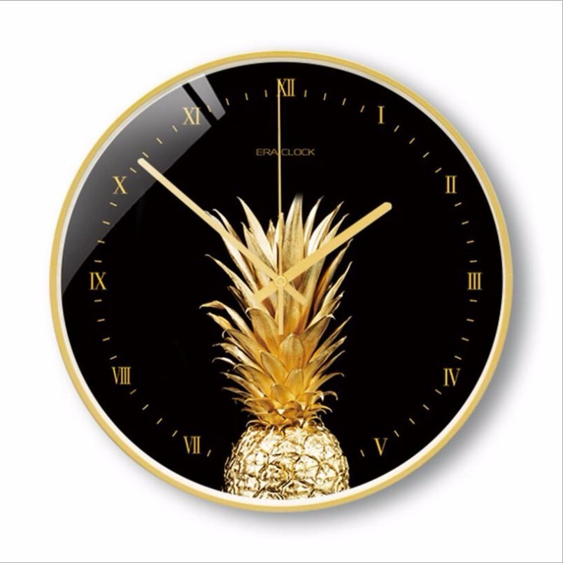 New 3D Wall Clock Silent Movement Metal Gold Round Modern Design Luxury Scan Large Size For Home