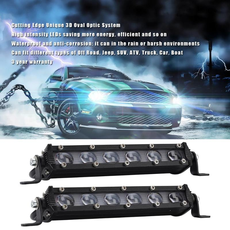 2X 8INCH 36W LED WORK LIGHT BAR FLOOD OFFROAD LAMP 4WD BOAT ATV DRIVING SUV HOTT