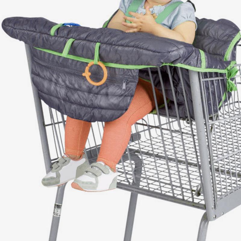 Dark gray baby supermarket shopping cart protection cushion