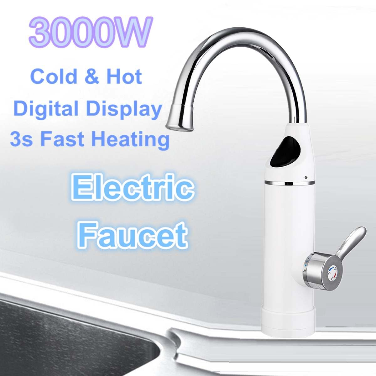Electric Kitchen Water Heater Tap Instant Hot Water Faucet Heaters Cold Heating Faucet Bathroom Tankless Instantaneous 3000WElectric Kitchen Water Heater Tap Instant Hot Water Faucet Heaters Cold Heating Faucet Bathroom Tankless Instantaneous 3000W