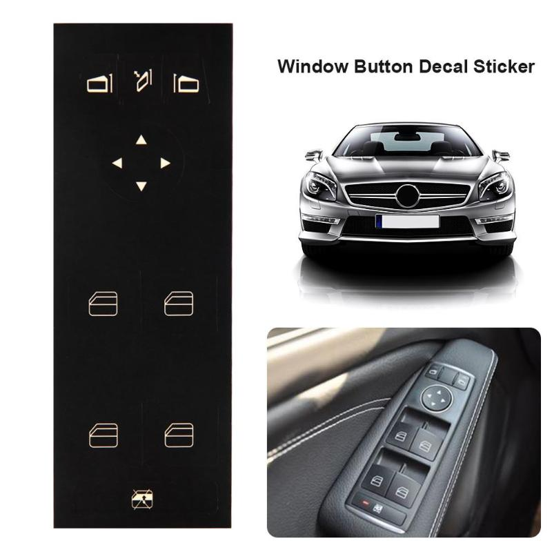 Auto Car Window Button Decal Sticker Matte Black Vinyl Window Switch Stickers Accessories for <font><b>MERCEDES</b></font>-BENZ W204 C250 <font><b>C300</b></font> C350 image