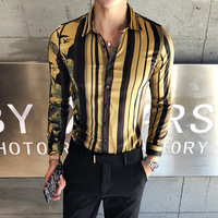 Luxury Gold Shirt Men 2018 New Autumn Long Sleeve Slim Fit Party Club Prom Shirt Men Korean Men Clothes Sharp Shirt Camisa