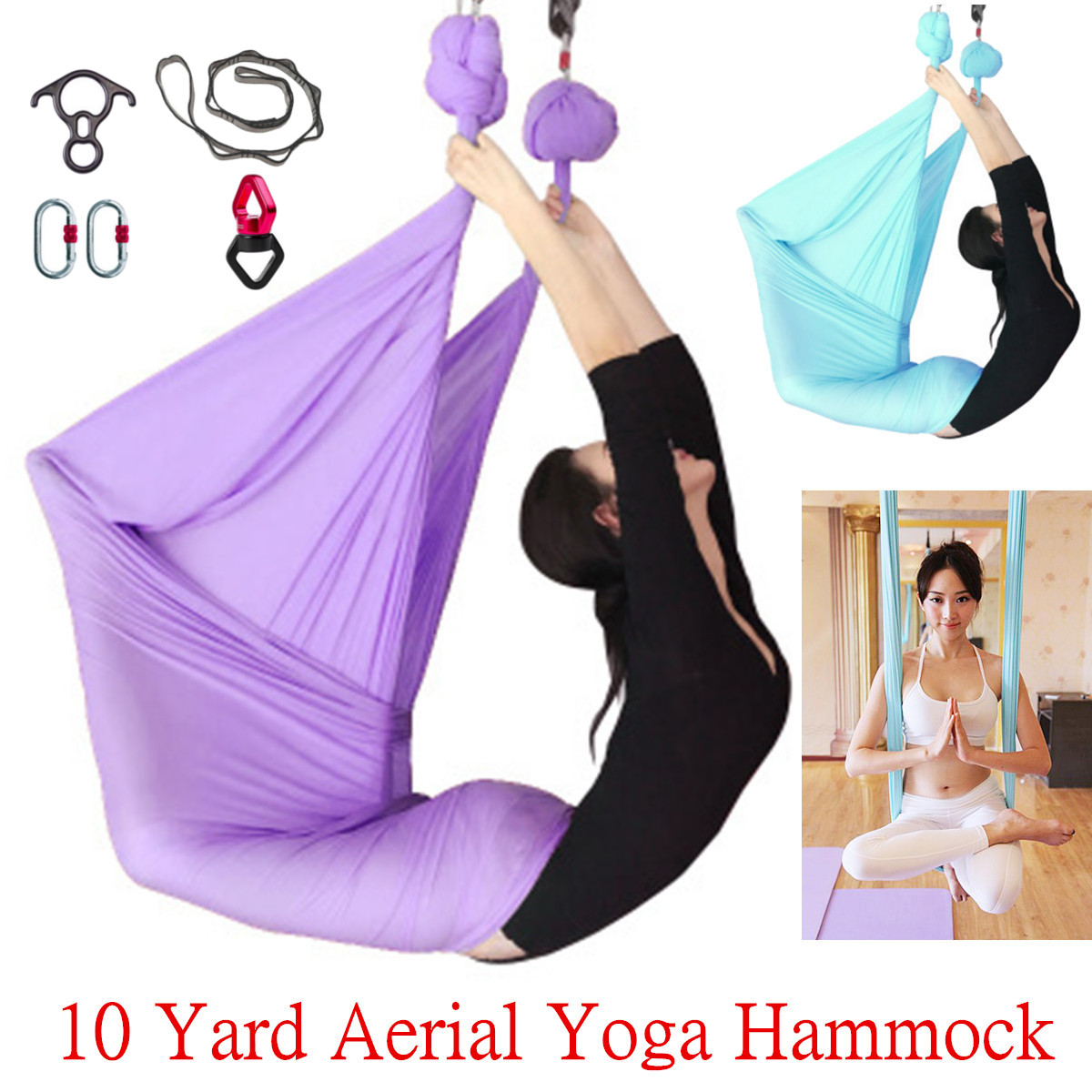 Yoga Adroit 10 Yard 9.2x2.8m Anti-gravity Inversion Yoga Hammock Sling Aerial Pilates Swing Fitness Body Building Equipment Yoga Belts Gym Easy And Simple To Handle