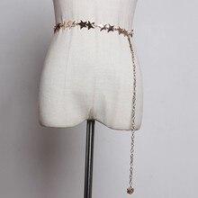 SeeBeautiful, новая мода, Осень-зима, пояс со звездами, металлический ремень с застежкой-крючком, длинные цепи, ремни для женщин Y147