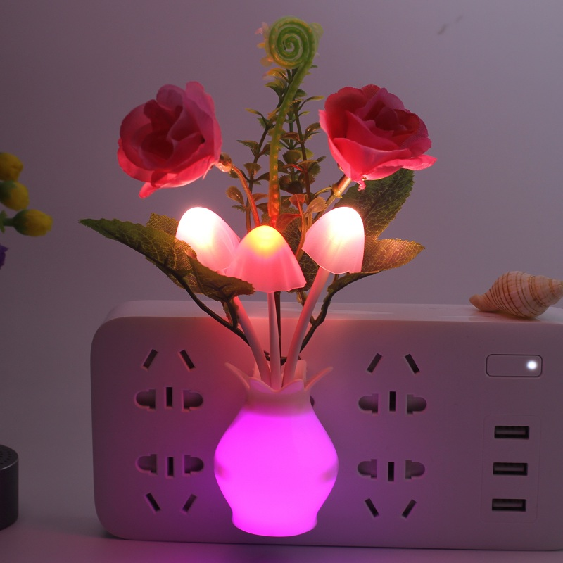 LED Night Light Bathroom Kitchen Bedside Light Sensor Control Led Lamp Mushroom Tulip Flower Nightlight For Home Decor