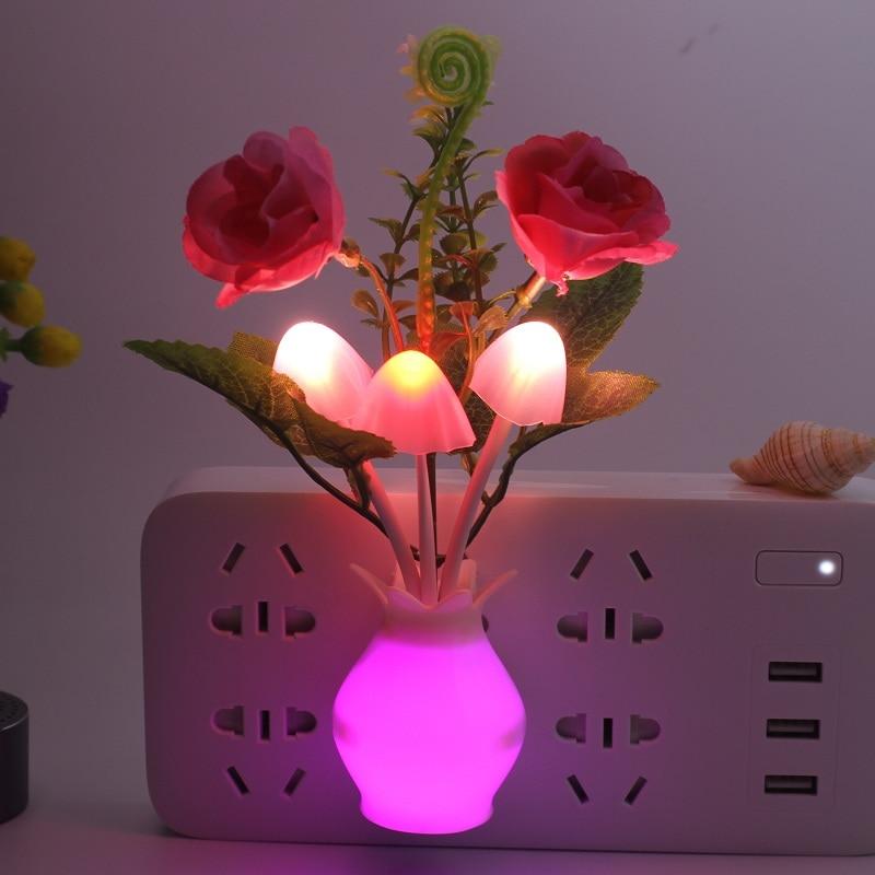LED Night Light Bathroom Kitchen Bedside Light Sensor Control Led Lamp Mushroom Tulip Flower Nightlight For Home Decor
