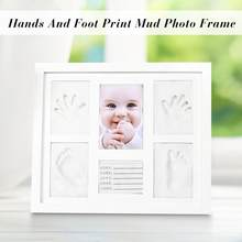 Tri-Fold Solid Wood Cover Photo Frame Handprint Mud Suit Baby Infrant DIY Cute Photo Frame Baby Footprint Foot or Hand Print Set(China)