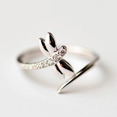 REETI 925 пробы серебряные кольца для женщин стрекоза Открытое кольцо стиль Леди предотвратить аллергию Стерлинговое Серебро-ювелирные издели...