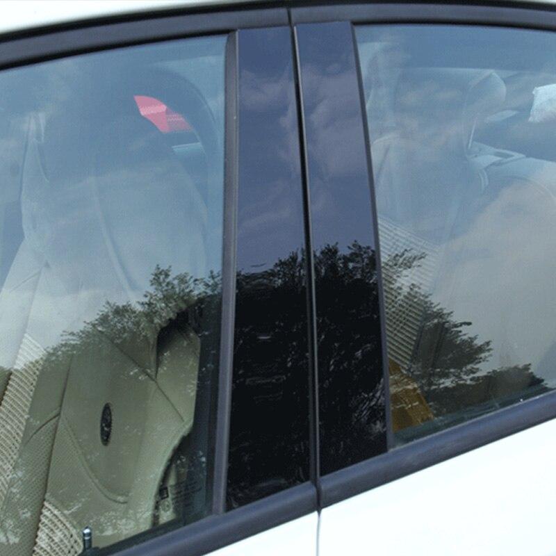 6/8pcs Black Car Door Window Pillar Posts Piano Trim Cover Kit Fit For Toyota 09-18 RAV4  07-18 Corolla 6/8 Camry