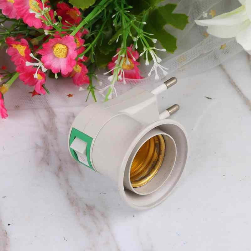 Lamp Base E27 LED Light Male Socket to US EU Type Plug Adapter Converter for E27 Screw Bulb Lamp Holder With ON/OFF Button