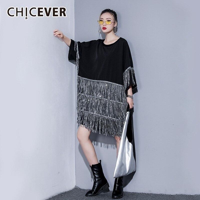 CHICEVER printemps femmes paillettes gland femmes robe O cou demi manches lâche grande taille genou longueur a-ligne robes noires 2019 nouveau
