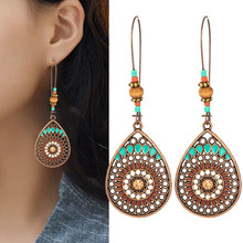 Boho High Quality 2019 New Wedding Party Jewelry Accessories Hot Sale Drop Earring 1Pair Water Drop India Ethnic Hollow Out(China)