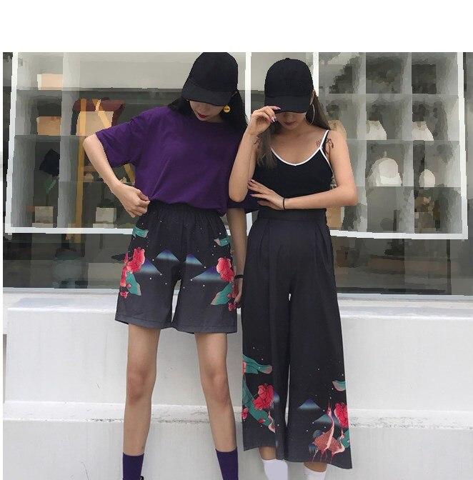 Summer Harajuku Printed Casual   Pants   Sexy Black Print Trousers Pattern Woman Elastic Waist   Wide     Leg     Pants   Streetwear