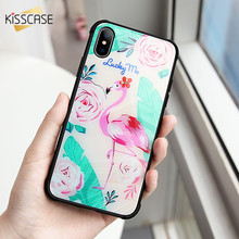 KISSCASE Tempered Glass Phone Case For iPhone X 10 Cover Cute Unicorn Cut Pattern 6 7 8 Plus Fundas Capas