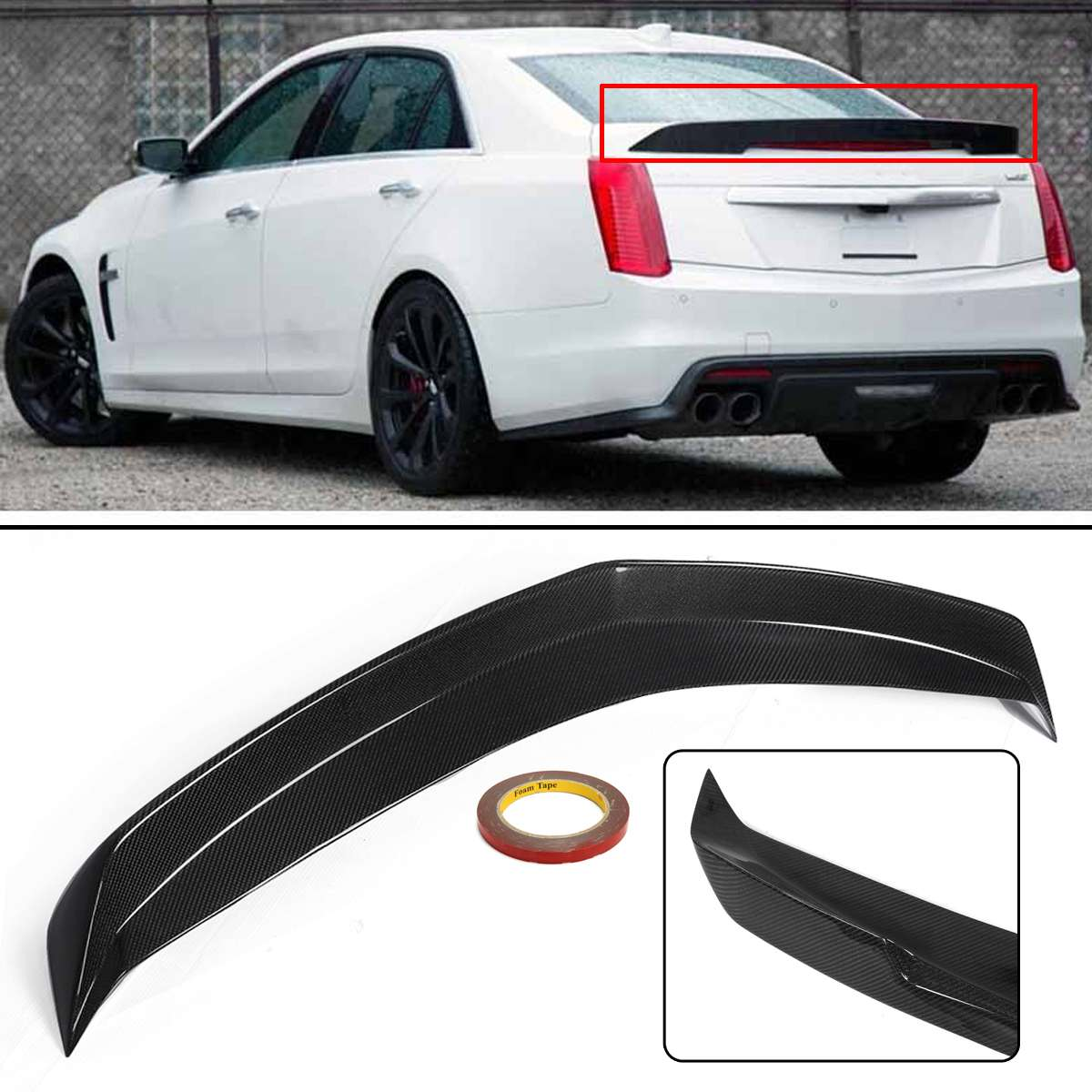 Carbon Fiber Package Rear Trunk Lid Spoiler Wing Lip Wing Lid Spoiler for Cadillac CTS-V 16-UpCarbon Fiber Package Rear Trunk Lid Spoiler Wing Lip Wing Lid Spoiler for Cadillac CTS-V 16-Up