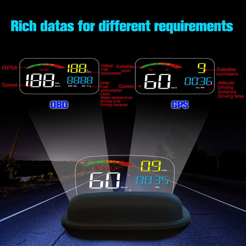 Car HUD Projector Head Up Display Car Speeding Warning HUD GPS Speedometer Projected Display Obd2 Projection On Windshield