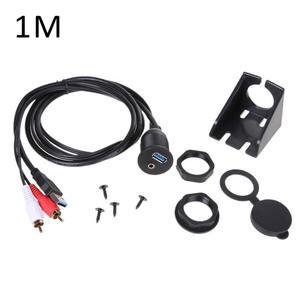 Image 2 - Cable de montaje profesional USB RCA para salpicadero de coche, Panel enchufable, USB 3,0, 3,5 MM, AUX, extensión de macho a hembra