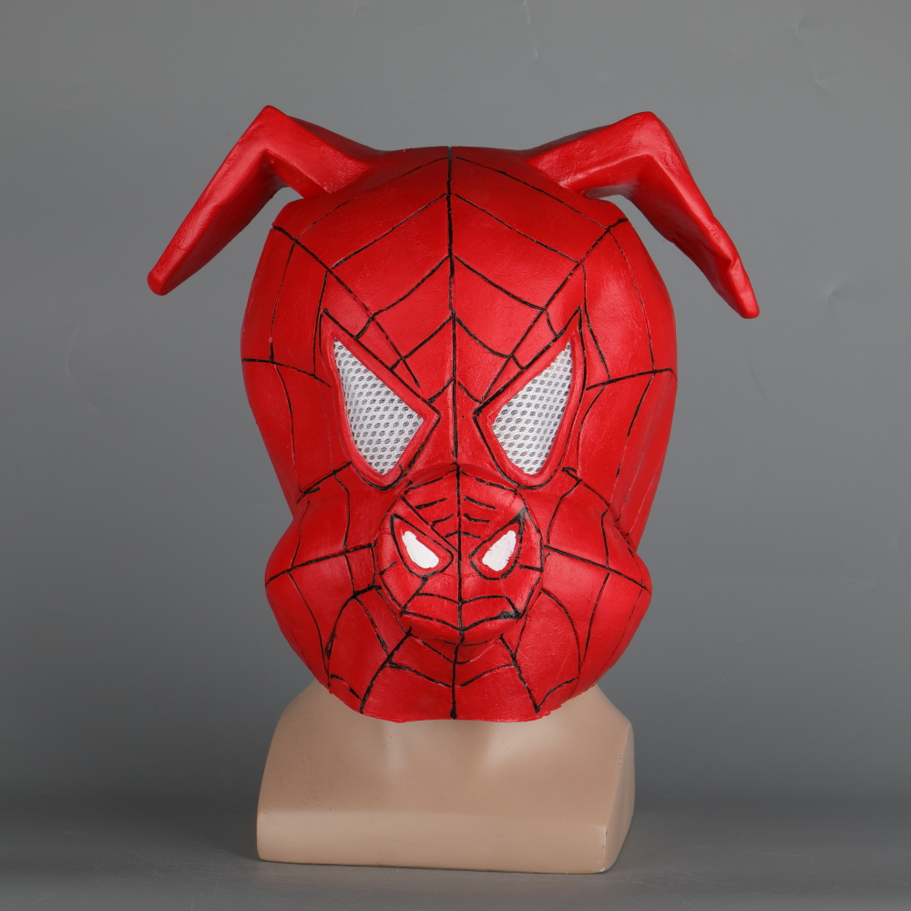 Anime Spider-Ham Latex Mask Mascara Spiderman Face Superhero Mask Party Prop Halloween Adult Costume