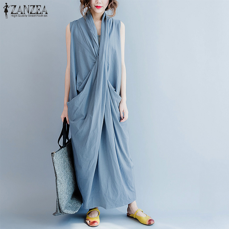 ZANZEA Maxi Dress Oversized Dress Women Sleeveless Deep V Neck Long Vestidos Casual Solid Pockets Summer Sundress Womens Dresses