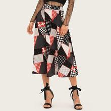 d7aed626a47566 Dulce Vintage falda Casual elegante negro Boho mujer Sexy Lady Aline verano  geométricas imprimir mujer moda Retro falda