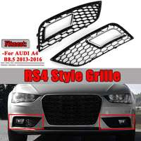 A Pair Car Bumper Fog Light Lamp Cover Honeycomb Hex Front Racing Grille Grill For Audi A4 B8.5 2013 2016 RS4 Style Chrome/Black