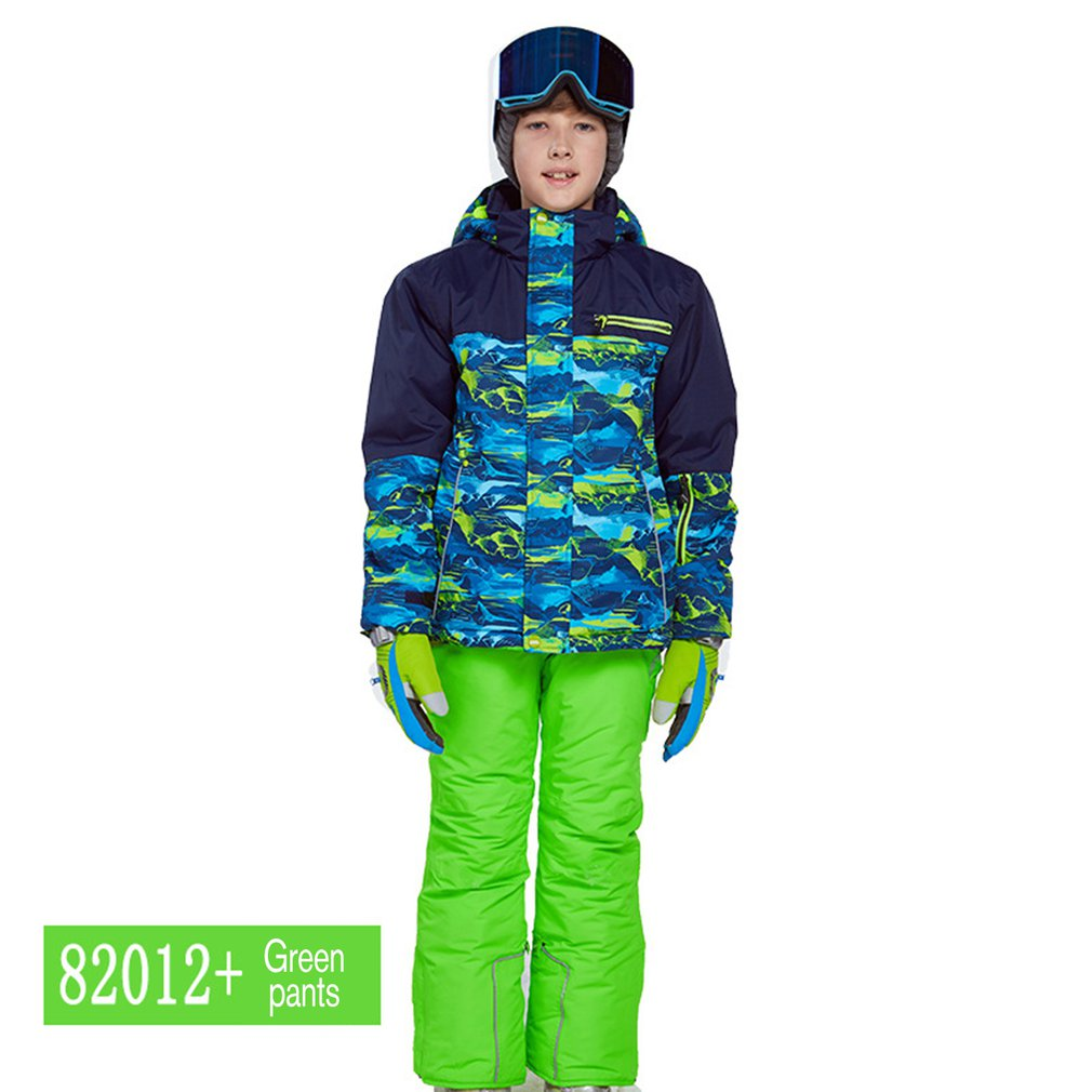 Children Warm Boys/Girls Ski Suit Waterproof Pants+Jacket Set Winter Sports Thickened Clothes Childrens Ski SuitsChildren Warm Boys/Girls Ski Suit Waterproof Pants+Jacket Set Winter Sports Thickened Clothes Childrens Ski Suits