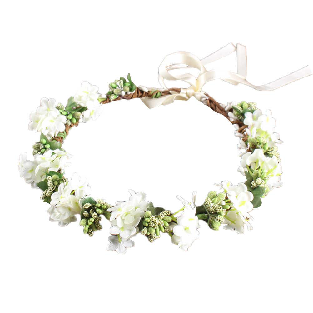 Wedding Bridal Headwear Head Wreath Women Flower Headband Bridesmaid Bridal Flowers Girls Hair Accessories (White)