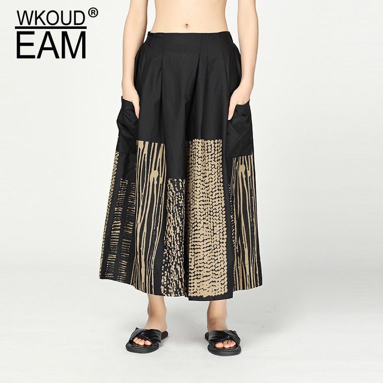 WKOUD EAM 2019 New Spring Summer High Elastic Waist Pattern Personality Printed   Wide     Leg     Pants   Women Trousers Fashion JS10