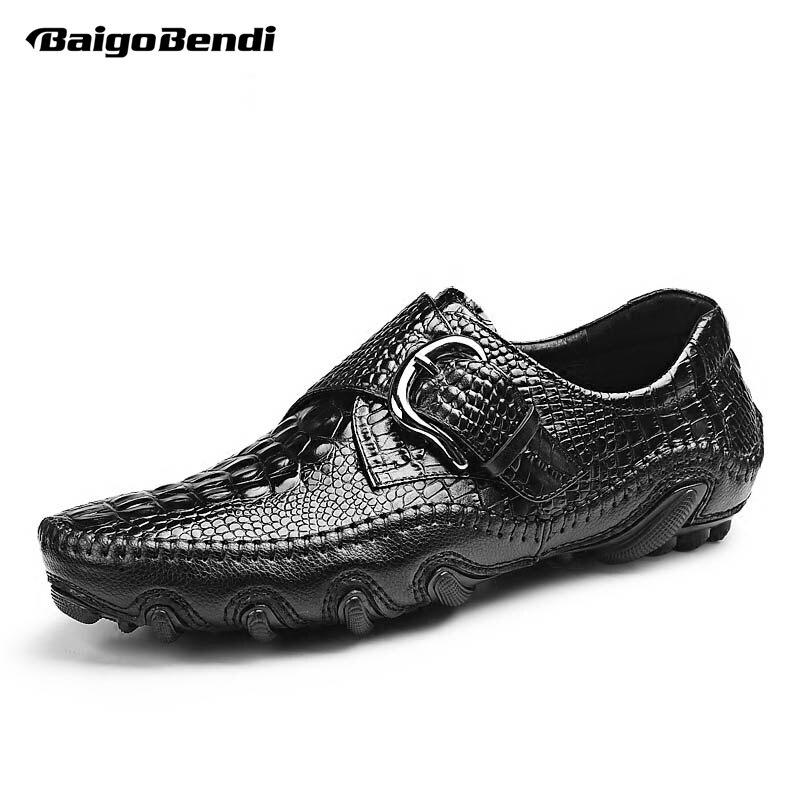 Zapatos de cuero del pulpo de los hombres del tamaño de EE. UU. Zapatos casuales de la hebilla del hombre perezoso del grano del cocodrilo-in Mocasines from zapatos    1