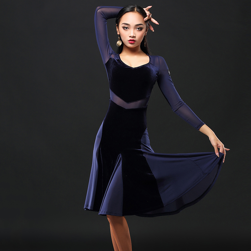2019 New Brand 1 Colors Latin Dance Top Women Sleeve Tango Rumba Flamengo Ballroom Dance Dress For Women Costume  A3155