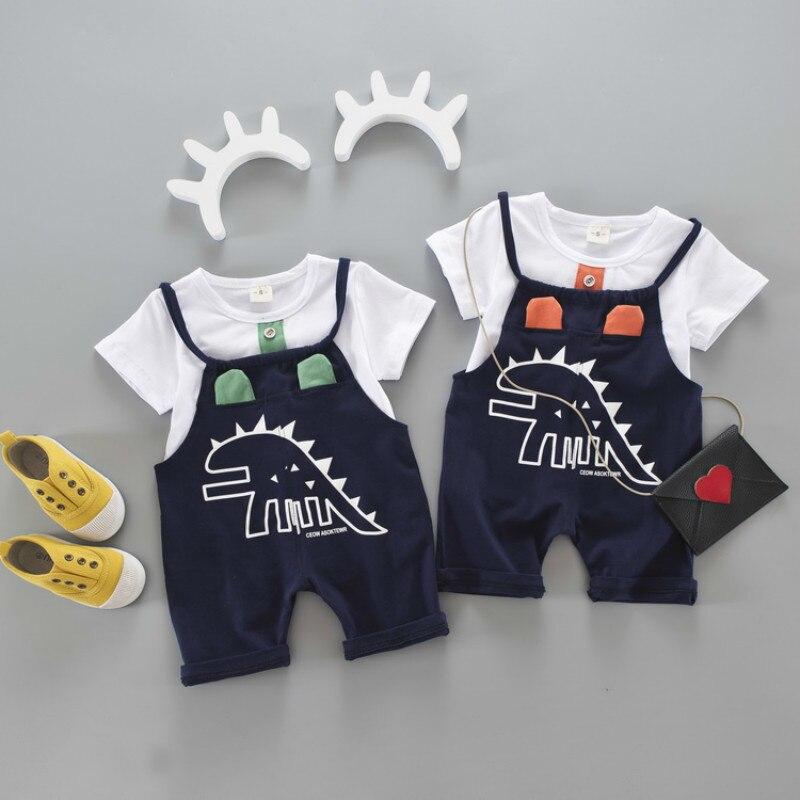 Mother & Kids Summer Brand Baby Boy Girl Clothes Toddler Cartoon Pattern T Shirt Bib Shorts 2pce/sets Kids Fashion Garment Children Tracksuits