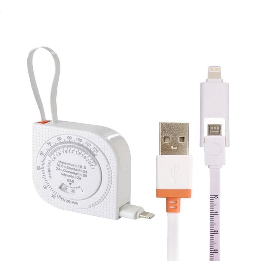 2 In 1 Ruler Cable Retractable Tape Measure Style Micro USB Data Charge Cable For IPhone IPad Samsung Android 4 Colors Available