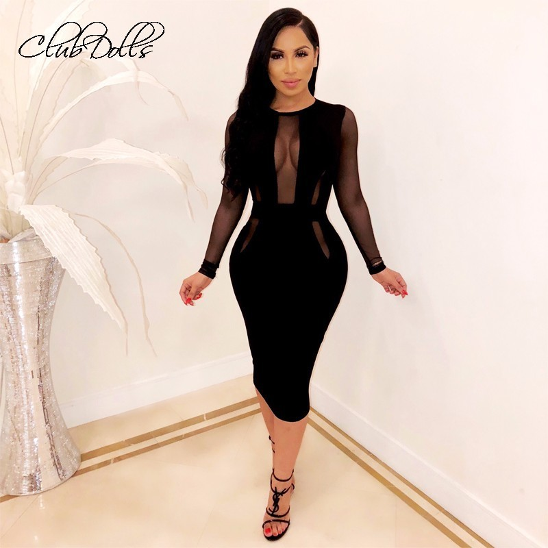 Sexy Mesh   Cocktail     Dresses   2019 New Fashion Bandage Bodycon Bpencil Party Gown Robe De Soiree