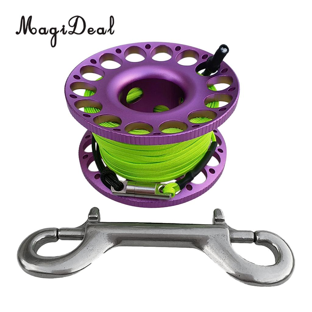 30M Mini Scuba Diving Gear Equipment Line with Stainless Steel Snap Bolt Hook Aluminium Alloy Reel Spool Pink
