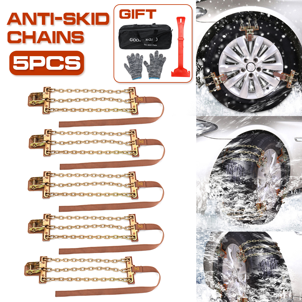5PCs S/L Wear-resistant Steel Car Snow Chains Balance Design Anti-skid Chain For Ice/Snow/Mud Road Safe For Driving