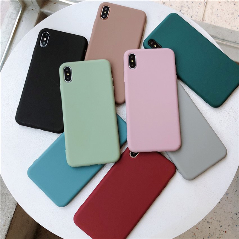 Lovebay Candy Color Silicone For IPhone 6 6s 7 8 Plus X XR XS Max Phone Case Simple Solid Color Soft TPU For IPhone 11 Pro Case