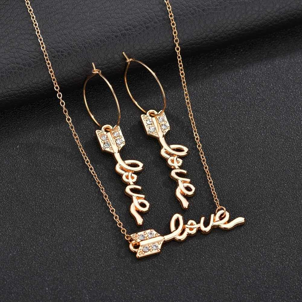 New Arrival Elegant Arrow Love Letters Women Necklace Earring Sets Great Fashion Style High Quality Wedding Jewelry Sets